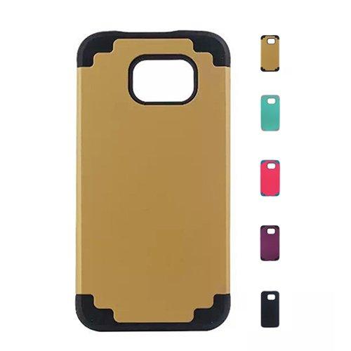 E8Q híbrido ultra fina de goma de protección para trabajo pesado duro caso protector para SAMSUNG GALAXY S6 Edge Oro