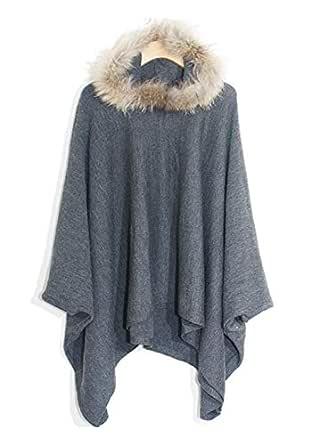 Dark Grey Wool Shirt Neck Cardigan & Poncho Top For Women