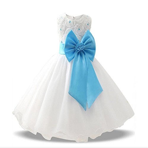 Dolwins Flower Girl Dress Lace First Communion Princess Ball Gown Wedding Dress (Blue-120cm(5 -