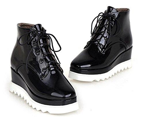 YE Damen Lack Warm Gefüttert Keilabsatz Stiefeletten mit Schnürung und 6cm Absatz Plateau Moderne Bequeme Ankle Boots Schwarz