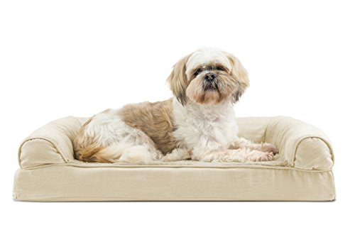 Furhaven Pet Dog Bed | Cooling Gel Memory Foam Orthopedic Ultra-Plush Sofa-Style Couch Pet Bed for Dogs & Cats, Clay, Medium