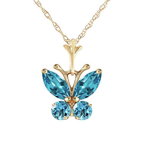 Blue Topaz Butterfly Pendant - 14K 18