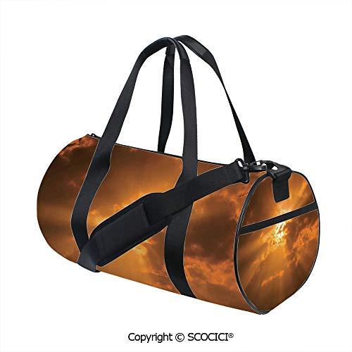 Crossbody Bags for Women Men,Sun Through the Clouds in the Sky Sunburst View Decorating Picture ArtworkInner Dark Grid,(17.6 x 9 x 9 in) Orange