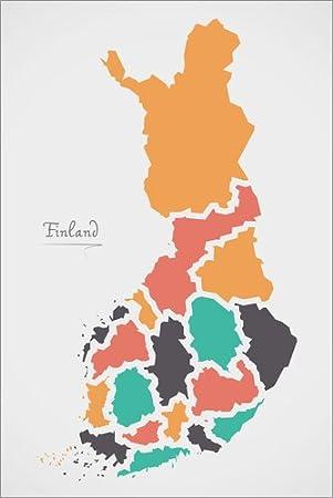 Hartschaumbild 60 x 90 cm: Finnland Landkarte modern abstrakt mit runden Formen von Ingo Menhard