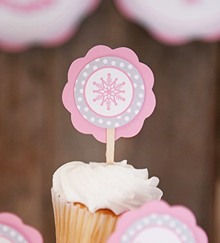 Snowflake CUPCAKE TOPPERS - Pink Snowflake Cupcake Toppers - Birthday Party or Baby Shower Decorations (12 - Cupcake Custom