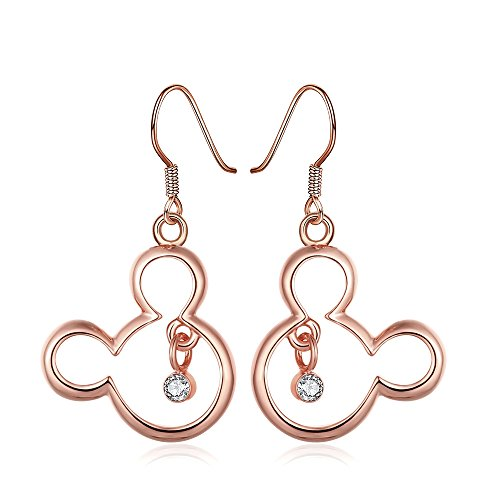 Rose Gold Plated Earrings AAA Zirconia Fish Hook Mickey Mouse .8