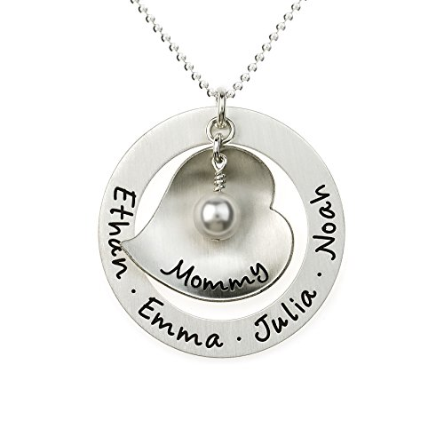Big Hearted Personalized Sterling Silver Name Necklace. Customize with Names, Dates, Initials, or Endearing Words of your choice, such as Mama, Nana, Grandma,Mommy. Gifts for Her, Grandma, Mother - Date Sterling Silver Necklace