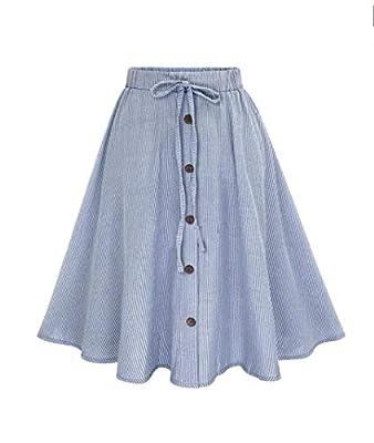 BODOAO Women Stripe High Waist Plain Skater Flared Skirt Single-Breasted Lace Skirt