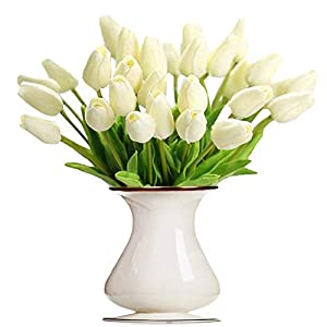 Bossrandy Artificial Tulips Real Touch Fake Latex Flowers 15 Pcs Eco-Friendly Holland Mini Tulip for Wedding Decor DIY Home Party(Cream) 110