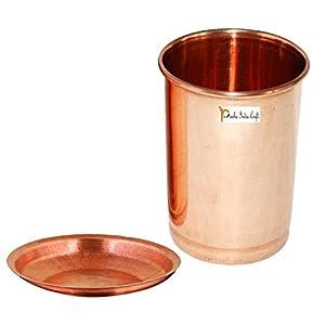 Prisha India Craft Pure Copper Glass Tumbler, Capacity 320 ML