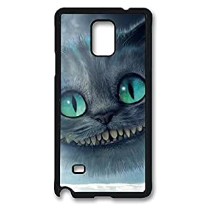 Printed Image for Cheshire Cat Quotes We Are All Mad Here Shock Resistant Hard Plastic Case Snap-on Cover with Design for Samsung Galaxy Note 4 -Black030901