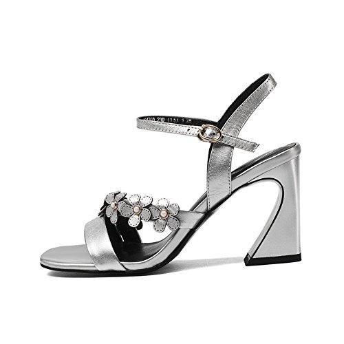 WSXY Creepers Femme Plateformes silver L0502 Baskets Chaussures Tongs Délicates Sandal à KJJDE Pantoufles Mode Fleurs qUtw1FHpP