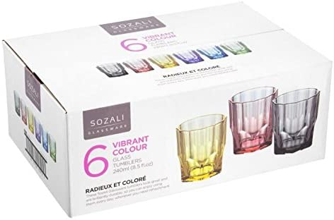 Pack de 6 vasos apilables de cristal de zumo de agua de 240 ml: Amazon.es: Hogar