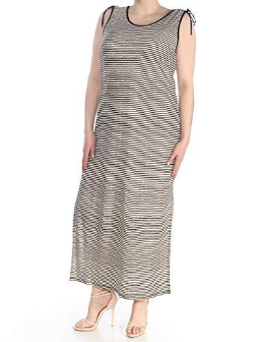 (LAUREN RALPH LAUREN Womens Linen Sleeveless Maxi Dress B/W XL)