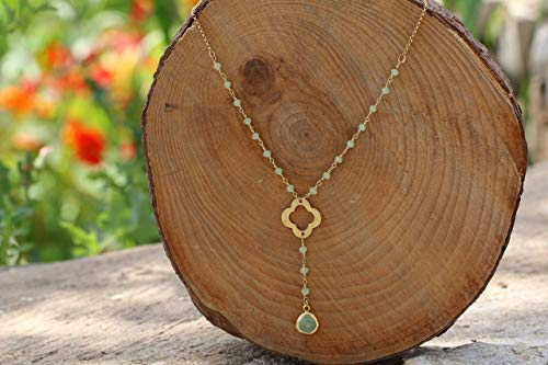 Dainty Short Chalcedony Rosary Necklace for Women, Flower and Green Crystal Teardrop Pendant, made of Gold Plated Brass, Boho Handmade Designer Jewelry, Bridesmaid Gift