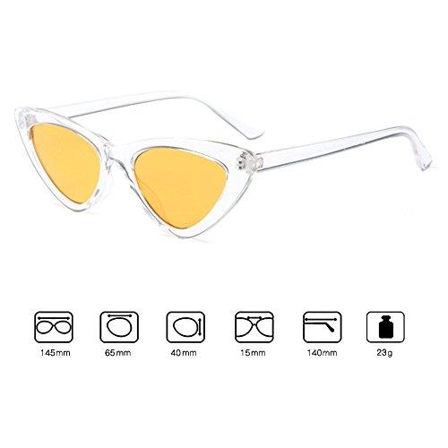 de Moda amarillo Gafas Cat Retro Blanco Gafas Vintage Mod Mujer Eye y sol Sunglasses de de Sol de Iww0qxv7TP