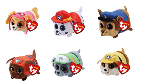 "TY Paw Patrol 4"" Beanie Boos! Plush Figures 6 Pc Set - Skye, Zuma, Chase, Marshall, Rocky, Rubble"