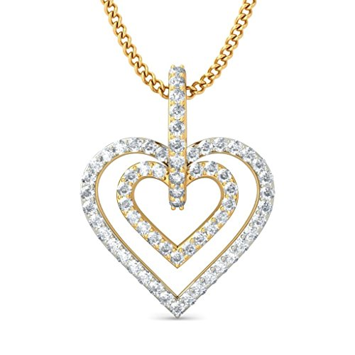 Or jaune 18K 0,33CT TW Round-cut-diamond (IJ | SI) Pendentif