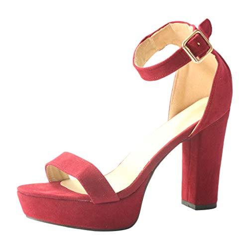 (HYIRI Retro Women's Pumps Temperament Wild Open Toe Buckle Strap High Heel Shoes Roman SandalsRedUS:5.5)
