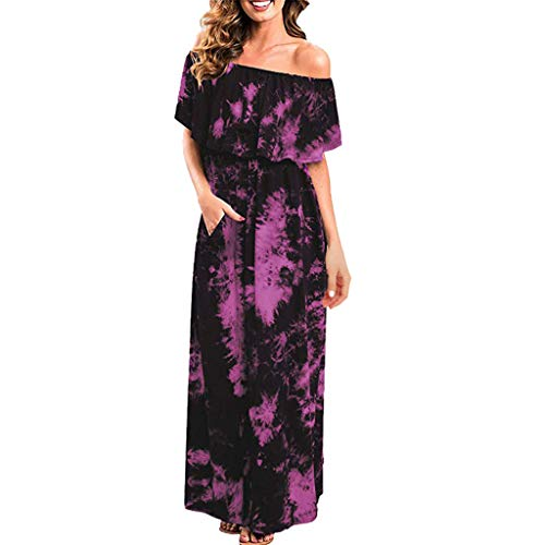 NEARTIME Party Long Dress, Women Summer Sexy Off Shoulder Dress Loose Ruffle Party Tie Dye Split Maxi Long Dress