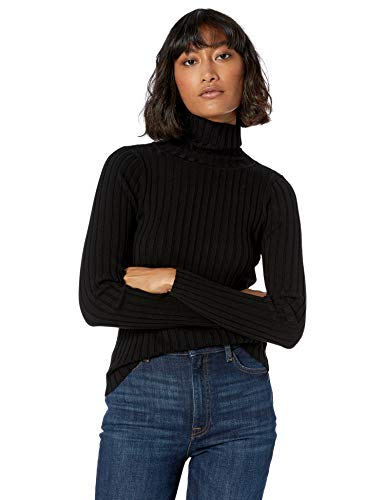 The Drop Women's Amy Fitted Turtleneck Ribbed Sweater, Black, M