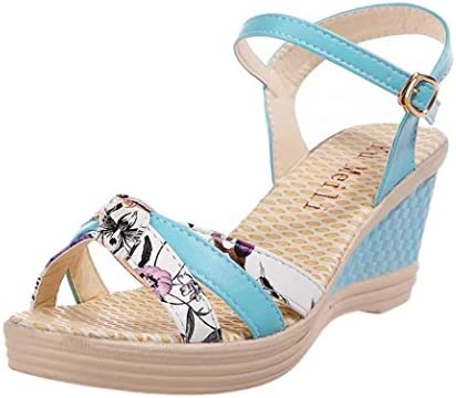 cb8dfcf6f7 JJLOVE Women Printing Open Toe Ankle Strap Wedge Dress Shoes ...