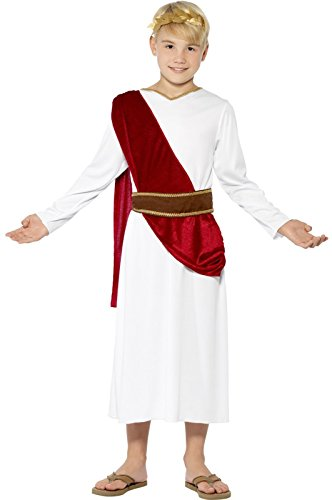 Childs Roman Toga Costume (Boys Roman Toga Emperor Caesar Greek Ancient Book Day Fancy Dress Age 7-9)