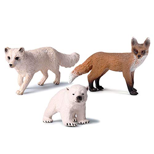 EOIVSH Wildlife Animal Figures Arctic Fox/Red Fox/Ploar Bear, 3 Pack Educational Miniature Playset Toys Party Supplies Cake Topper Decoration for Baby Shower Birthday