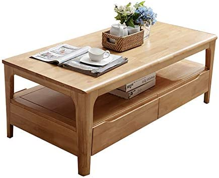 机 テーブル 長方形ダブルデッキローテーブルのすべてのソリッドウッドコーヒーテーブル付き引き出し和風のシンプルでモダンな小さなアパート1.2メートル デザイン どんな部屋でも馴染みします (Color : Photo Color, Size : 120x60x45cm)