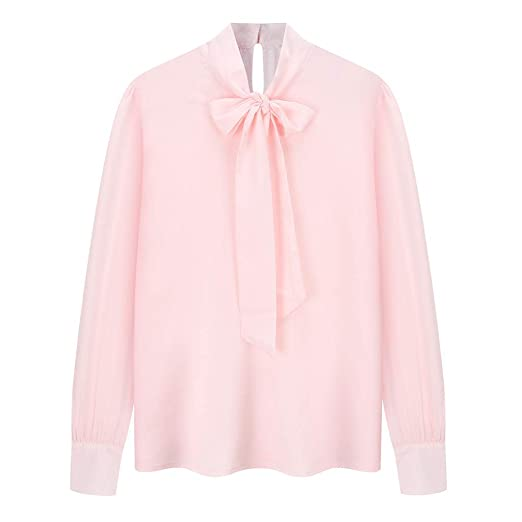 2d3bf0ae8a7 Women's Chiffon Pink Long Sleeve Blouse Bow-Tie V Neck Slim Fit ...