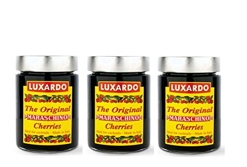 Luxardo Italian Maraschino Cherries In Syrup 400 Gram Jar (Pack of 3) by Luxardo