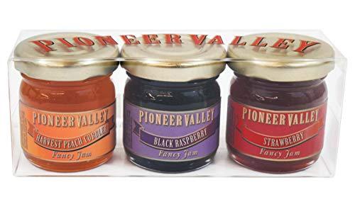 (Pioneer Valley Gourmet Mini Jam Sampler Variety 3 Pack 1.5oz Each - Black Raspberry, Harvest Peach Cobbler, Strawberry)