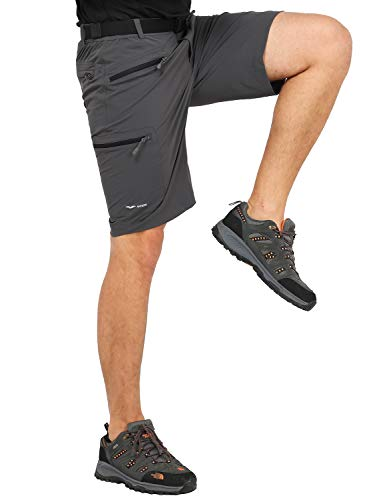 MIER Men's Quick Dry Cargo Shorts Lightweight Stretch Travel Hiking Shorts with 5 Zipper Pockets, Water Resistant, Graphite Grey, 32