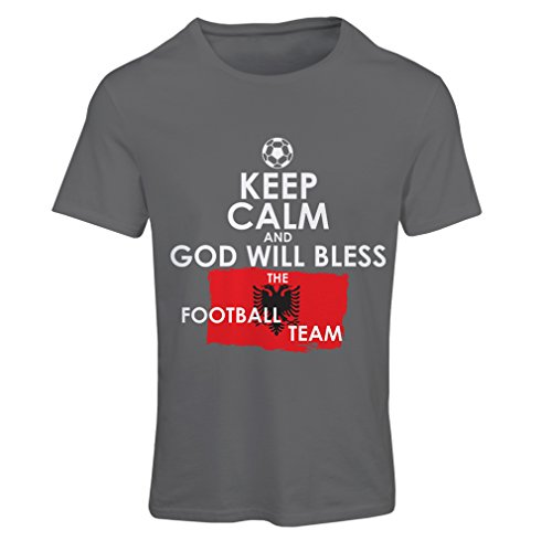 fan products of lepni.me N4468F T Shirts For Women God Will Bless The Albanian National Football Team (Medium Graphite Multi Color)