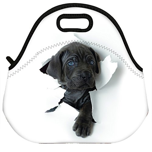 (Waterproof 3D Labrador Retriever Dog Design Thermal Insulated Neoprene Lunch Bag Tote for Men Women Work Outdoor)
