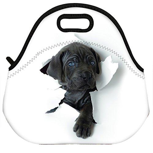 Dog Design Women Men Kids Thermal Insulated Neoprene Lunch Bag Tote for School Work Outdoor ()
