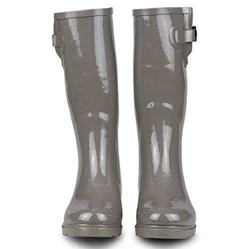 Twisted Frauen Drizzy Tall Cute Gummiregen Stiefel Solides Grau