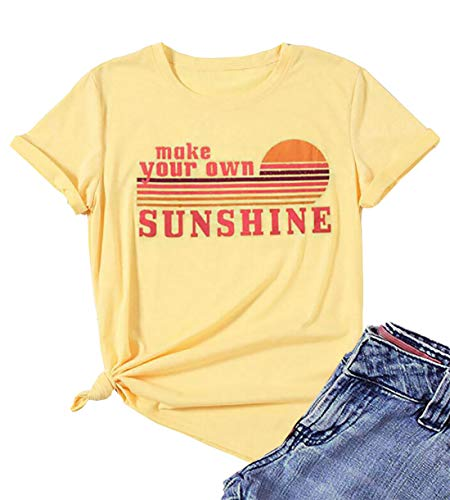 Women's Make Your Own Sunshine Short Sleeve T-Shirt Summer Letters Print Beach Vacation Graphic Tees Tops (Yellow, XL) (Make Your Own T Shirt)