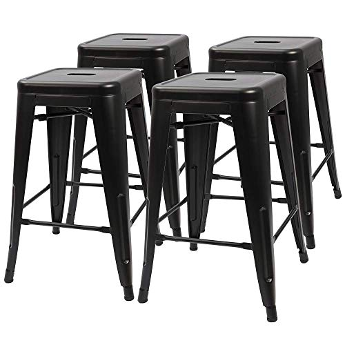 (Furmax 24 Inches Metal Bar Stools High Backless Indoor-Outdoor Counter Height Stackable Stools Set of)