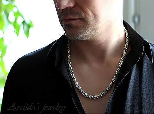 Heavy man necklace Byzantine chain sterling silver necklace