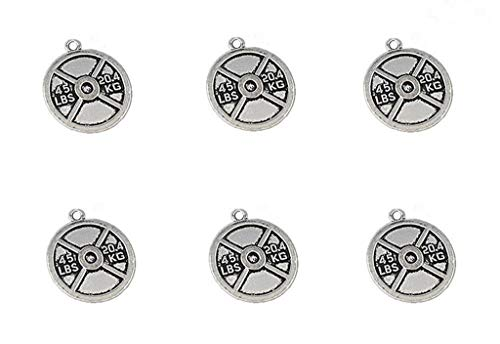 - 20pcs Discus Sports Charm Pendant for DIY Crafting Bracelet Necklace Jewelry Making Findings Accessories (Antique Silver Tone) By Alimitopia