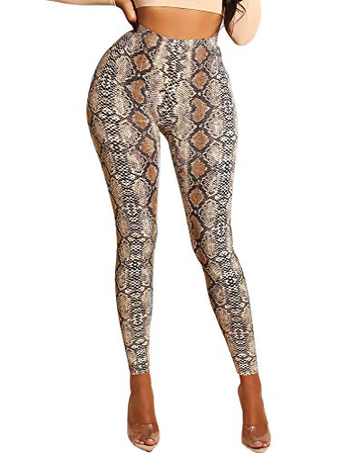 LAGSHIAN Women Fashion Snakeskin Printed Sexy Skinny Trousers High Waist Yoga Tight Pants Yellow