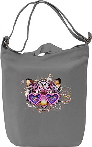 Tiger with Heart Shaped Glasses Borsa Giornaliera Canvas Canvas Day Bag| 100% Premium Cotton Canvas| DTG Printing|
