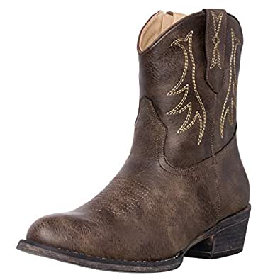 Womens Western Short Cowgirl Cowboy Boot Brown Madison Round Toe by Silver Canyon, Size 6.5M