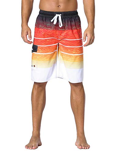 Nonwe Men's Swimwear Holiday Drawstring Quick Dry Striped Board Shorts Orange Striped ()