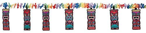 Amscan Hawaiian Summer Luau Beach Tiki & Flower Lei Garland Decoration (1 Piece), Multi Color, 8.8 x 11.6