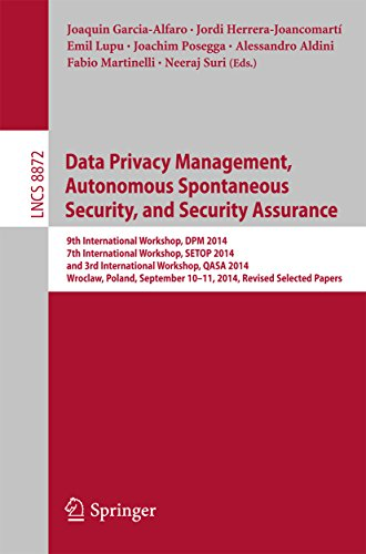 Download Data Privacy Management, Autonomous Spontaneous Security, and Security Assurance: 9th International Workshop, DPM 2014, 7th International Workshop, SETOP … Papers (Lecture Notes in Computer Science) Pdf