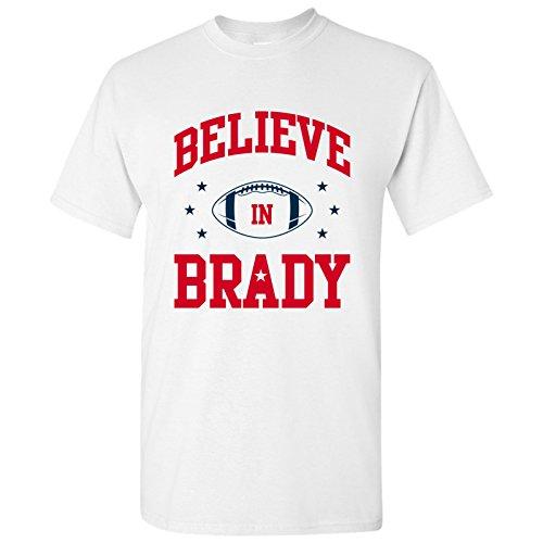 Believe in Brady - New England American Football Quarterback T Shirt - Large - White