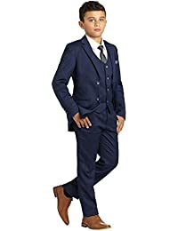 Henry POW Check Occasion Wear, Boys Gray Wedding Slim Fit Suit with Shirt and Vest, X-Large - 20