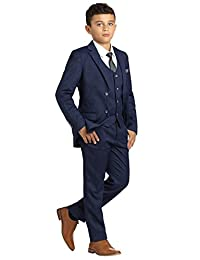 Paisley of London, Henry POW Check Occasion Wear, Boys Gray Wedding Slim Fit Suit with Shirt and Vest, X-Large - 20